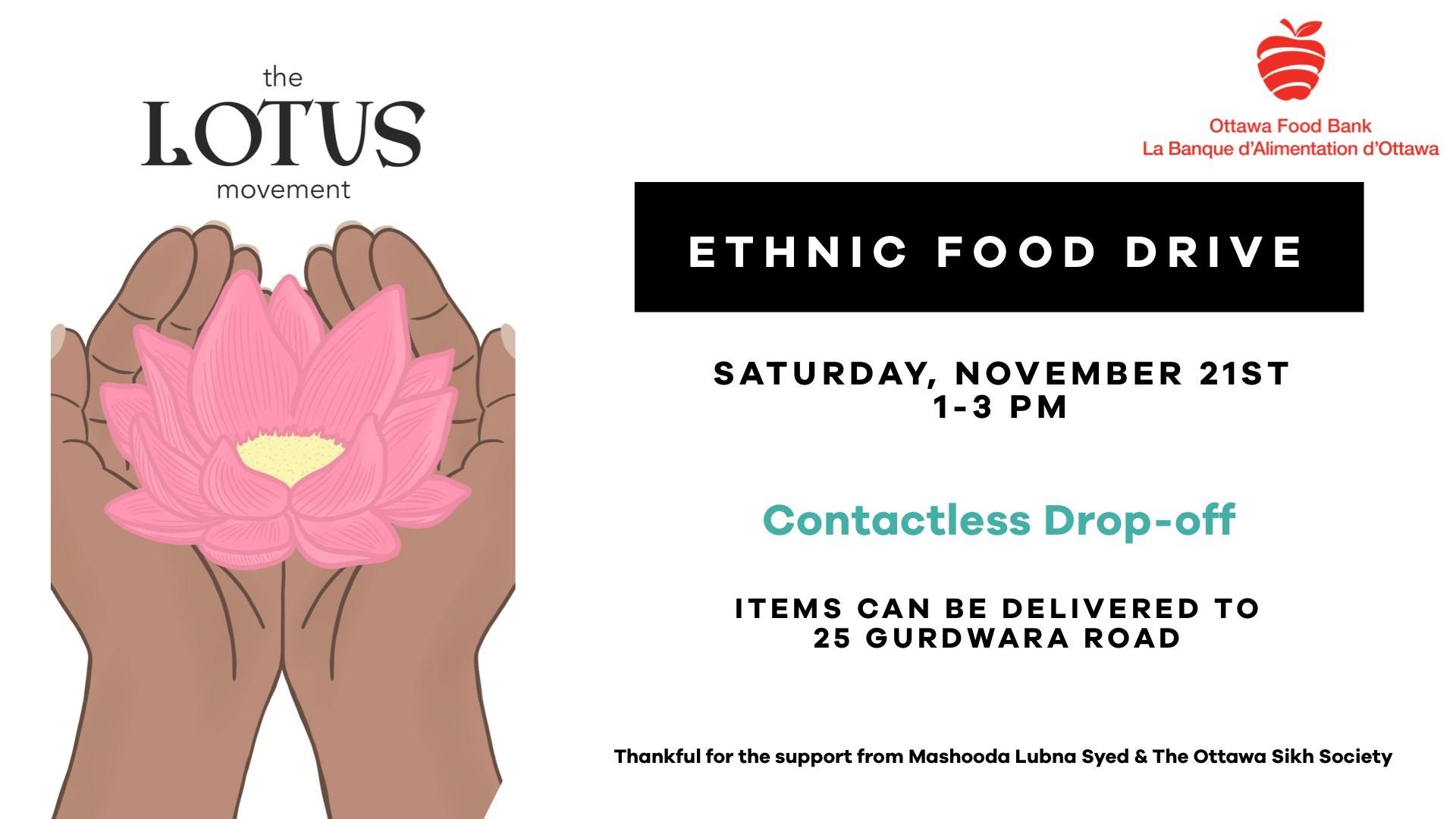 The Lotus Movement ethnic food drive